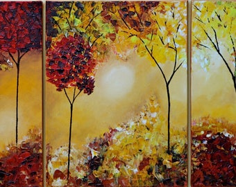 Large Oil Painting On Canvas,abstract Wall Art, Modern Handmade 3 Paintings,landscape painting,set of 3 wall art