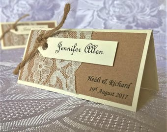 Hand Crafted Personalised 'Amelia Rose' Wedding Table Name Place Cards Sample Rustic Vintage Lace Twine