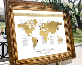 World seating chart etsy world map seating chart plane travel theme gold wedding or party printable gold world map gumiabroncs Choice Image