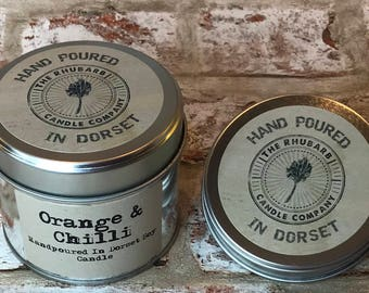 Orange & Chilli  Hand Poured Soy Wax Candle With Cotton wick. Made in Dorset
