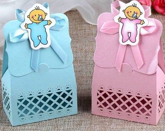 24 pcs Baby Shower Candy Box Cute Gift Bag Paper for Baby Shower Decorations Boys Girls Party Set Event Party Supplies