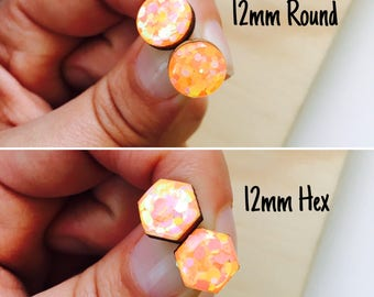 12mm Goldfish Glitter Resin/Bamboo Stud Earrings • Round • Hexagon • Surgical Steel • Hypoallergenic • Glossy • Dome • Butterfly Clasp