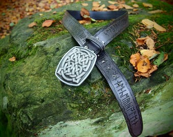 dwarf belt, leather dwarf belt, thorin belt, rune belt, viking belt