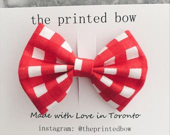 Red Check small Bow Clip