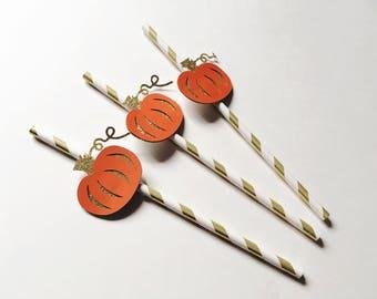 Glittery pumpkin straws