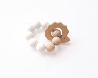 Bracelet rattle teething ring white Hedgehog shaped silicone and wood beads - natural product.