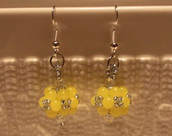 Cute Czech crystal-beaded earrings in yellow; handmade, beadweaving, beautiful, dangle & drop, casual-wear, party-wear