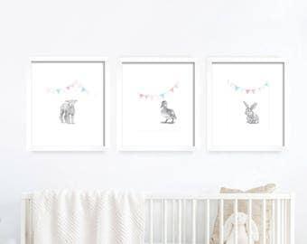 Baby Animal Nursery Art. Flags.  Baby Animals, Nursery Art. Nursery Decor, Nursery Print. Baby's Room Decor. Animal Drawing. Kid's Wall Art.