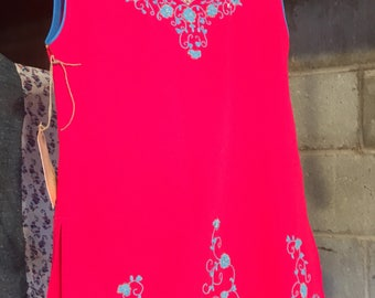 Ornate Pink and Blue Blouse