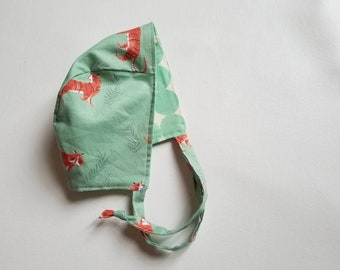 Tiger bonnet•0-3 M•baby bonnet•hat•warm hat•winter baby•girl•photo prop•accessory•green•cotton•spring•summer•reversible•boy•gender neutral