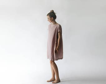 LINEN dress OVERSIZED white LOOSE tunic dress dusty pink