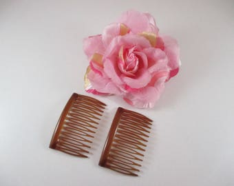 2 side Combs hair plastic color Brown 6.5 cm x 4 cm.