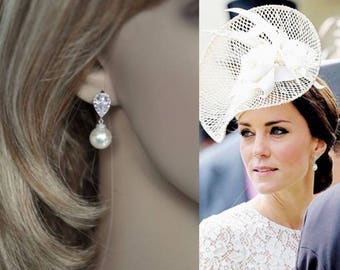 Your Choice Pearl Colour -- Handmade Celebrity Inspired Cubic Zirconia & Pearl Bridal Earrings, Bridal, Wedding (Pearl-343)