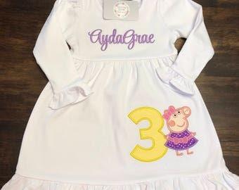 Peppa Pig Dress // Peppa Pig Birthday Dress // Girl Birthday Shirt // Monogrammed Peppa Dress // Peppa Pig 1st First 2nd Second