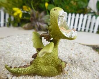 Miniature Woodland Dragon Creature ~ Green Fairy Garden Baby Dragon Figurine ~ Fantasy Dragon Collectible & Miniature Fairy Garden Supplies