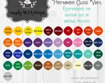 Vinyl Color and Font Chart**Do not purchase**