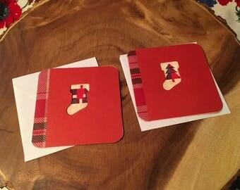 Plaid stocking gift tags