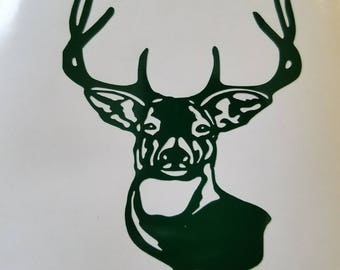 Deer Buck Decal - permanent vinyl - gift ideas for hunters on Yeti & Rtic cups, coolers, man cave decor etc. Sportsman gift idea!