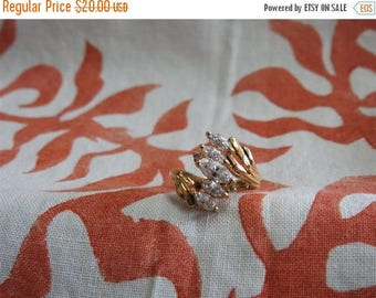 ON SALE stunning vintage gold plated sterling silver and cz cluster ring size 8 1/2