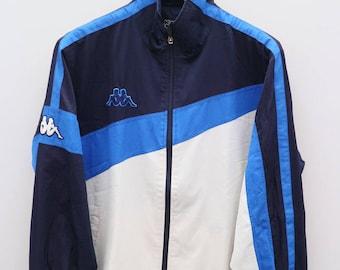 Vintage KAPPA Sportswear Blue White Jacket Windbreaker Size L
