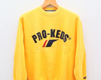 Vintage PRO-KEDS Big Logo Big Spell Yellow Sweater Sweatshirt Size L