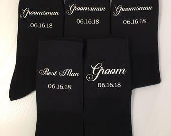 Grooms Party, Personalised Wedding Socks - Groom Socks, Groomsmen Socks with fancy text