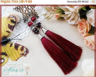 Sale Gift for woman Burgundy tassel earrings for lady Woman boho earrings Gift for girlfriend Fringe long earrings Red tassel jewelry burgun