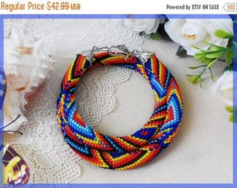 Sale Lady chakra necklace Colorful chunky woman necklace Rainbow statement jewelry Blue beaded crochet necklace Jewelry birthday gift for si