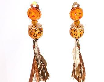 Clips earrings Copper Brown Pompom Orange Wood Beads