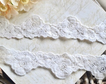 Off white lace trim, Embroidered lace, Scalloped lace, Lace trim, Shabby chic lace, Vintage lace, Border lace, Floral lace, Cotton Lace