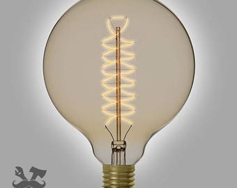 Light bulb Edison G125 125mm in diameter, 40W, Vintage, Filaments, Steampunk, 220V, E27, Ironwoodstache