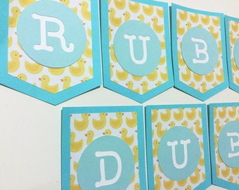Rubber Ducky Baby Shower Banner - Rubber Duck Baby Shower - Rubber Duck Banner - Yellow and Blue Baby Shower