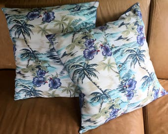 Two Tropical Tiki Lounge Decor Pillow Covers made from an Up-cycled Vintage Hawaiian Shirt; Polynesian Floral Print Cushion Covers