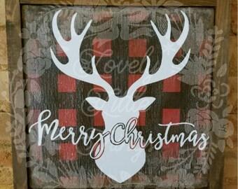 Plaid Merry Christmas Reindeer Sign