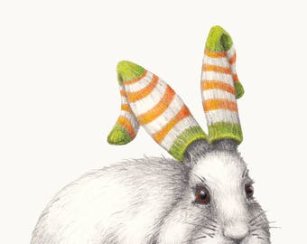 Winter Woollies Rabbit Print - Made to Order