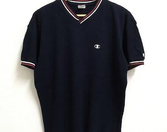 RARE!!! Champion Small Logo Embroidery V-Neck Ringer Dark Blue Colour T-Shirts M Size