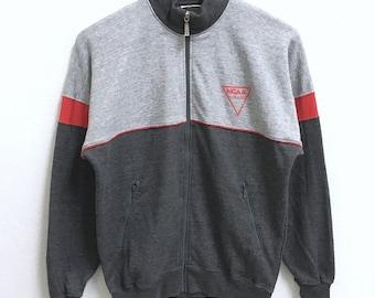 RARE!!! NCAA Sportwear Small Logo Grey Colour Raglan Zipper Sweaters Hip Hop Swag M Fit S Size