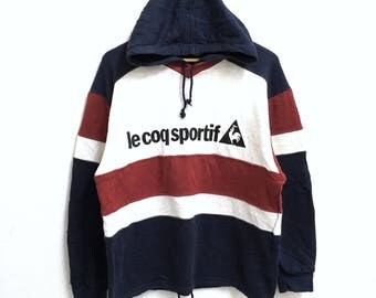 RARE!!! Le Coq Sportif Big Logo SpellOut Multicolour Raglan Hoodies Hip Hop Swag M Size