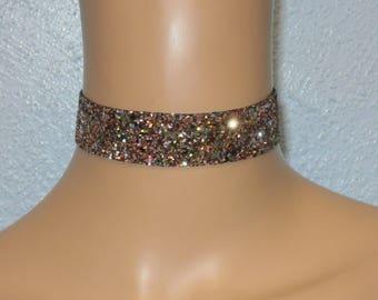 Rainbow Glitter Fabric Choker Satin Ribbon Ties Free Size