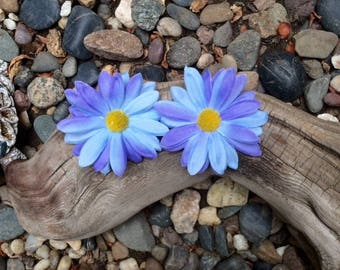Blue/Periwinkle Small Daisy Silk Flower Hair Clips - sold in set of two