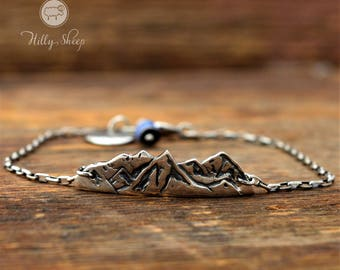 Silver Bracelet - Mountains on a chain.mountain bracelet.Mountain jewelry.Gift for Hikers.Silver jewelry.gift for the climber
