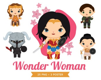 20% OFF Wonder woman Clipart, Super girl, Superhero, pattern Invitation, wonder woman Birtday party, Instant Download PNG file 300 dpi