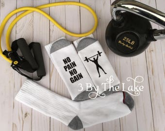 No Pain No Gain, with Body Builder, Men's Funny Workout Socks