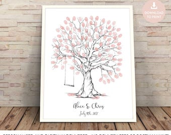 fingerprint tree, wedding tree, finger print tree, guest book, wedding tree printable, fingerprint tree printable, fingerprint tree swing