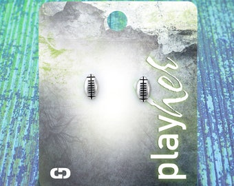 Silver Football Post Earrings - Great Football Gift! Free Shipping!