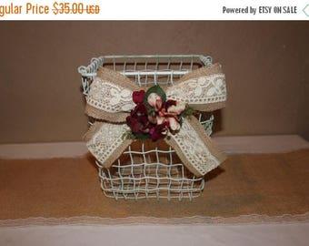 ON SALE Wedding Wire Basket / Burlap and Lace Basket / Wedding Program Basket /