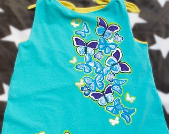 Turquoise Butterfly Dress, Organic Cotton