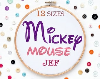 12 Sizes Mickey Mouse Disney Embroidery Font JEF Format Embroidery Machine,Initials Monogram,Monogram Design,Instant Download