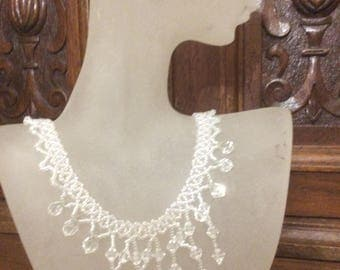 Crystal Choker, Crystal Necklace, Drop Necklace, Woven Necklace, Beaded Necklace