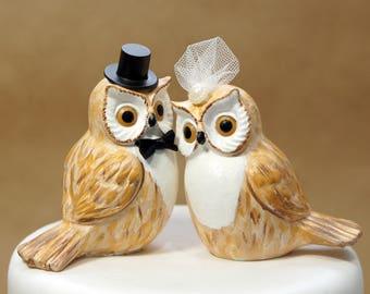 Brown owl wedding cake topper, handmade owl topper, barn owl topper, owl wedding cake topper